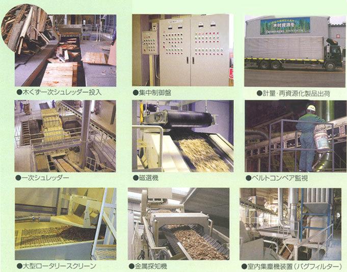 廃木材リサイクル工程写真